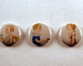 Set of Three Portrait one inch button badges.