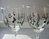 Musical Notes Wine Glass Set of 2