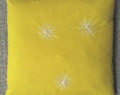 Yellow on Yellow Starburst Pillow from Vintage Fabric
