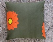 Orange Flower Applique Pillow - Vintage print on high-end European green linen rollend