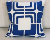 Blue and White Vintage Supergraphic Cotton Throw Pillow - by Playboy