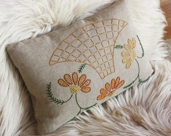 Hand-embroidered pillow, made from vintage embroidery on Irish linen