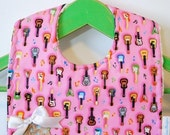 Mini Rocker in Pink - Minky Baby Bib