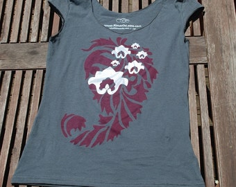 SALE - S,L - Graphic tee for women, womans tops tshirts, silkscreen womens t-shirt, womens tees, tops & tees - paisley and lotus design