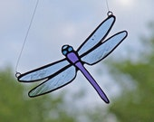 Unique Home Decor - Stained Glass Dragonfly with Purple Tail - Nature Inspired Gift