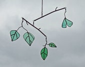 Reclaimed Green Glass - Green Leaf Mobile - Recycled Green Glass Leaf Mobile