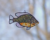 Angler, Fisherman Gift - Stained Glass Pumpkin Seed Sunfish, Orange Home Decor