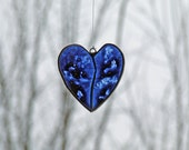 Glass Heart Blue Painted One and Only