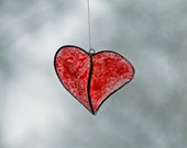 Valentine Glass Heart Beer Bottle Heart Splotch Painted