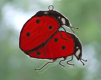 Valentine's Day Decor Two Opal Glass Ladybugs