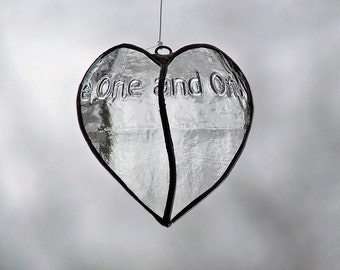Stained Glass Heart Sun Catcher, unique wedding gift sun catcher, gift for couples, engagement gift