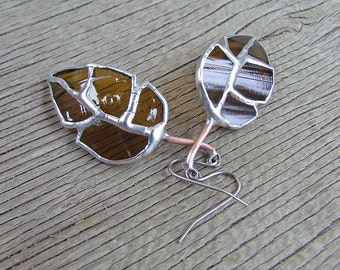Glass Leaf Earrings, Recycled Amber Glass Dangles, Unique Wedding Gift, Anniversary Gift