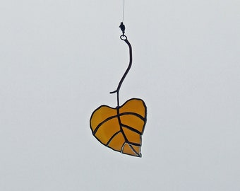 Recycled Amber Glass Aspen Leaf from Reclaimed Two Hearted Bottle - Eco Friendly Gift