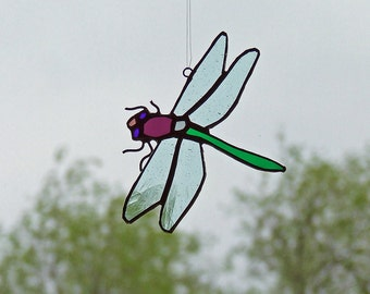 Entomologist Gift Idea - Stained Glass Dragonfly - Unique Insect Art Glass - Nature Inspired