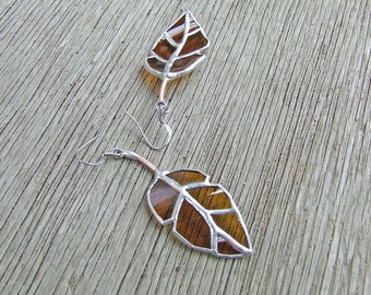Elm Leaf Earrings from Amber Glass Bottle, Unique Wedding Gift, Anniversary Gift, Serendipity Gift