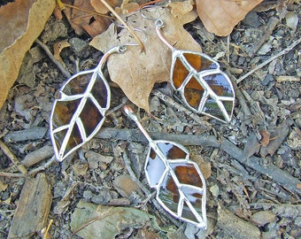 Elm Leaf Earrings and Pendant - Statement Jewelry - Eco Friendly - Recycled Glass Leaf Jewlery