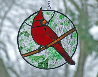 Stained Glass Cardinal, Unique Home Decor, Unique Anniversary Gift, Mother's Day Gift