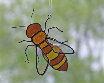 Stained Glass Honey Bee with 3D Wings