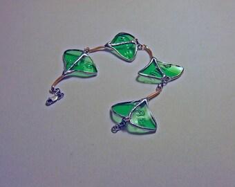 Reclaimed Glass Ginkgo Leaf Bracelet from Italian Beer Bottle