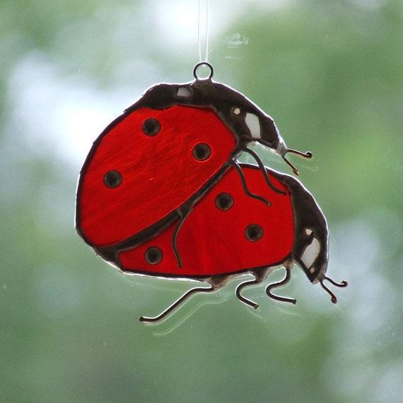 Valentine's Day Decor Two Opal Glass Ladybugs