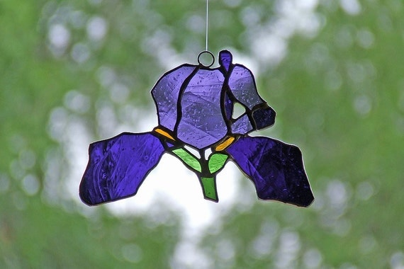 Stained Glass Iris Suncatcher, Unique Wedding Gift, Anniversary Gift, Nature Inspired