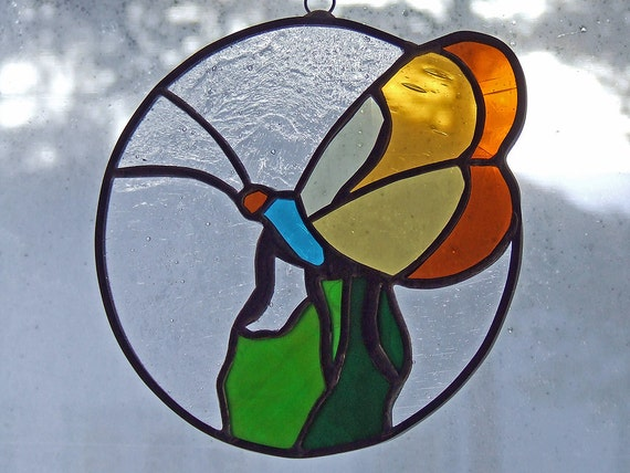 A colourful stained glass butterfly