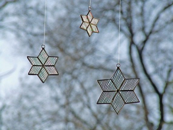 Stained Glass Stars from Iridescent Cord Glass, Unique Home Decor