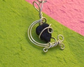 CLEARANCE.....Swaying Branches wrapped silver wire pendant with black leaf bead