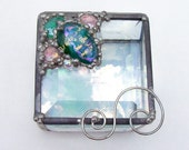 Pink and Teal Dichroic Jewelry Box OOAK