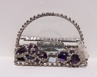 Amethyst and Quartz Crystal Business Card Holder OOAK