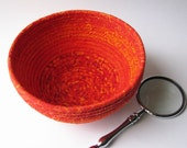 Coiled Fabric Basket - fiery red orange