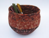 Coiled Fabric Basket - Brown and Rust
