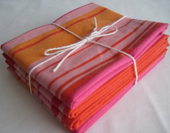 Red Pink and Orange Reclaimed Linen Fat Quarters