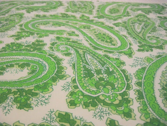 Vintage Green and White Paisly Reclaimed Linen Fat Quarters