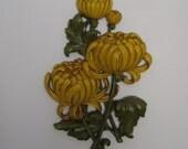 mid century vintage chrysanthemum syroco wall art