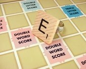 Custom Letter Scrabble Tile Wood Initial Ring on Adjustable Silverplated Ring Form