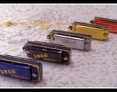 Mini Tooter Swan Harmonica Necklace Pendant with 30 Inch Chain - You Choose Color