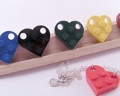 You Choose Color Game Piece Block Plate Heart Necklace with 16 Inch Curbchain Game Piece