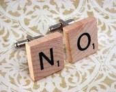 Custom Letter Initial Scrabble Tile Wood Cufflinks Cuff links
