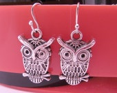 Mini Hooters Owl Charm Earrings with Fish Hook Wires