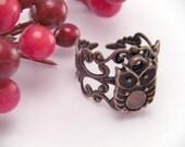 Mini Brass Lil Hooter Owl Adjustable Filigree Ring