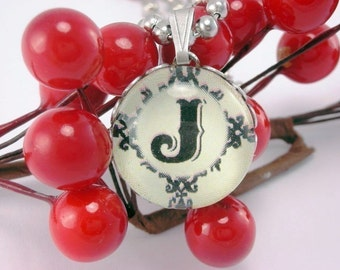 Mad About Marbles Glass Initial Necklace Letter J with 18 Inch Ballchain