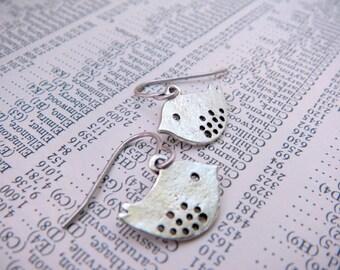 Antique Silver Mini Purdy Birdie Earrings for Pierced Ears