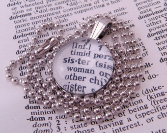 Glass Marble Dictionary Definition Necklace Pendant SISTER with 16 Inch Ballchain