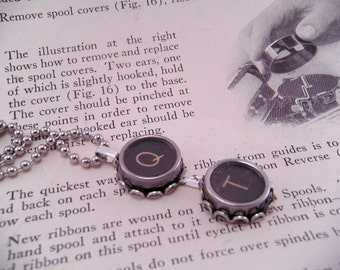 Vintage Typewriter Key Necklace Pendant Q T with 18 Inch Ballchain