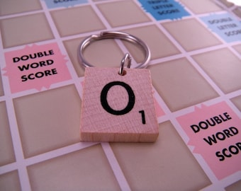 YOU CHOOSE LETTER Wood Scrabble Tile Keychain Key Chain