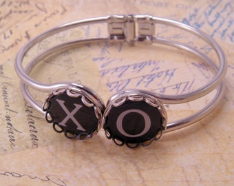 You Pick Letters or Symbols or Numbers Hinged Cuff Typewriter Key 7 Inch Cuff Bracelet