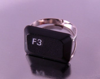 You Choose Letters, Numbers or Symbols Computer Keyboard Key Ring on Adjustable Ringform