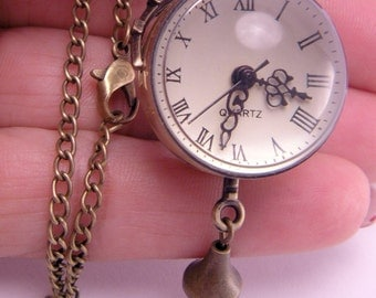 Double Sided Glass Bubble Pocket Watch with 28 Inch Brass Curb Chain