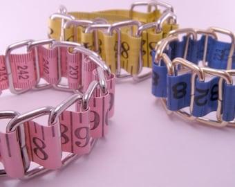 Pink Blue or Yellow Vinyl Measuring Tape on Metal Rings Bracelet
